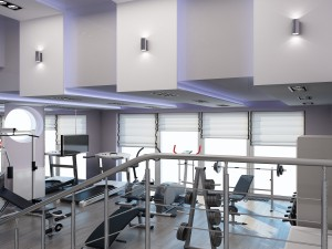 Sketches of interior design of gym